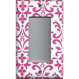 Single Rocker Decora GFI Outlet Cover in Hot Pink Damask Filigree Scrolls Handmade- Simply Chic Gal