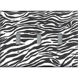 Triple Toggle Light Switch Cover in Zebra Stripes Black & White Animal Print