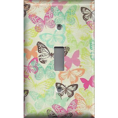 Single Toggle Light Switch Cover in Multi Color Pastel Butterflies