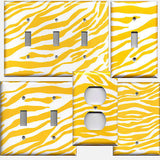 Lemon Yellow & White Zebra Animal Print Handmade Light Switch & Outlet Covers- Simply Chic Gal