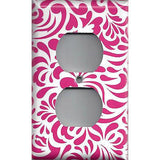 Wall Outlet Plate Cover in Hot Pink Retro Filigree Swirls Handmade- Simply Chic Gal