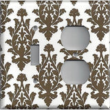 Dark Brown & Off White Damask/Brocade Light Switch Plates & Outlet Covers