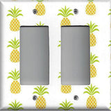 Double Rocker Decora Light Switch Cover in Tropical Pineapple Hawaiian Decor
