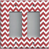 Double Rocker Decora Light Switch Cover in Crimson Red Burgundy Chevron Print
