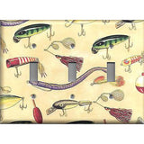 Fishing Lures Worms Bait Gear Hooks on Cream Background Switchplates & Outlets