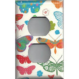Wall Outlet Cover in Hippie 60's Butterflies on Light Cream- Handmade Home Decor- Simply Chic Gal