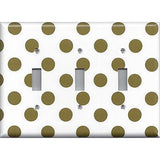 Triple Toggle Light Switch Cover in Chocolate Brown Polka Dots