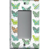 Single Rocker Decora GFI Outlet Cover in Newspaper Butterflies Teal Orange Green- Simply Chic Gal