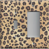 Combo Light Switch and Rocker Cover in Leopard Spots Animal Print African Decor