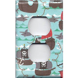 Wall Plate Outlet Cover in Pirate Ships and Sharks Boys Room Handmade- Simply Chic Gal