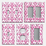 Hot Pink Damask Filigree Scrolls Handmade Light Switch Plates & Outlet Covers- Simply Chic Gal