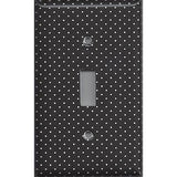 Black and White Tiny Polka Dots Single Toggle Light Switch Cover