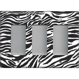 Triple Rocker Decora Light Switch Cover in Zebra Stripes Black & White Animal Print
