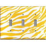 Triple Light Switch Cover in Lemon Yellow & White Zebra Animal Print Handmade- Simply Chic Gal
