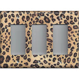 Triple Rocker Decora Light Switch Cover in Leopard Spots Animal Print African Decor