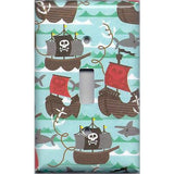 Single Light Switchplate Cover in Pirate Ships and Sharks Boys Room Handmade- Simply Chic Gal