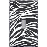 Single Toggle Light Switch Cover in Zebra Stripes Black & White Animal Print