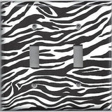 Double Toggle Light Switch Plate in Zebra Stripes Black & White Animal Print