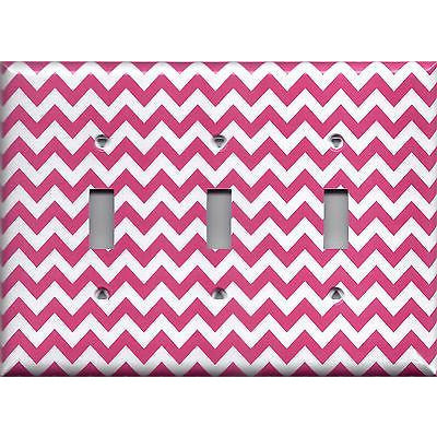 Triple Toggle Light Switch Plate in Hot Pink Chevron Zig Zag Print