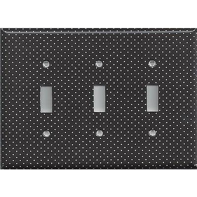 Black and White Tiny Polka Dots Triple Toggle Light Switch Cover