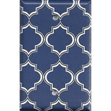 Navy Blue and White Quatrefoil Lattice Light Switch Covers & Wall Outlet Covers
