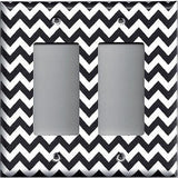 Black Chevron Pattern Double Rocker Decora GFI Outlet Cover- Handmade Home Decor - Simply Chic Gal