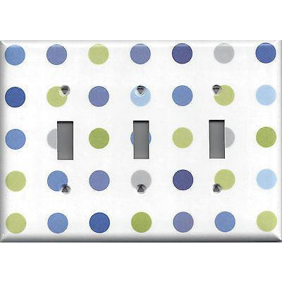 Blue & Green Polka Dots Triple Light Switch Cover- Handmade Home Decor- Simply Chic Gal