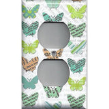 Wall Outlet Plate Cover in Newspaper Butterflies Teal Orange Green Handmade- Simply Chic Gal