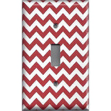 Single Toggle Light Switch Cover in Crimson Red Burgundy Chevron Print
