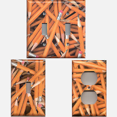 Classroom School Teachers Wooden #2 Pencils Light Switch Plates & Outlet Covers Simply Chic Gal
