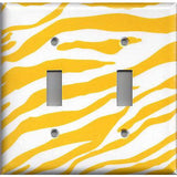 Double Light Switch Cover in Lemon Yellow & White Zebra Animal Print Handmade- Simply Chic Gal