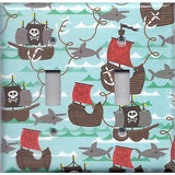 Double Toggle Light Switch Cover in Pirate Ships and Sharks Boys Room Handmade- Simply Chic Gal