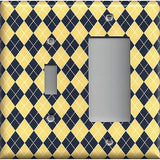 Combo Light Switch and Rocker GFI Outlet Cover in Yellow & Navy Blue Argyle Diamonds- Handmade