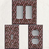 Brown with Pink & White Small Flowers/Floral Light Switch Plates & Outlet Covers