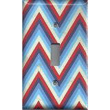 Single Toggle Light Switch Cover in Red Off White & Blue Chevron Stripes