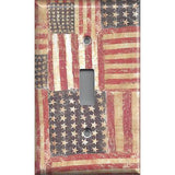 Single Toggle Light Switch Cover in Rustic American Flags Patriotic Decor