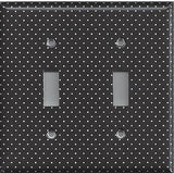 Black and White Tiny Polka Dots Double Toggle Light Switch Cover