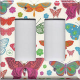 Double Rocker Deocra Cover in Hippie 60's Butterflies on Light Cream- Simply Chic Gal