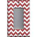 Single Rocker Decora GFI Outlet Cover in Crimson Red Burgundy Chevron Print