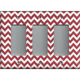 Triple Rocker Decora Light Switch Cover in Crimson Red Burgundy Chevron Print