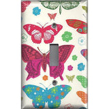 Single Toggle Light Switch Cover in Hippie 60's Butterflies on Light Cream- Simply Chic Gal