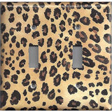 Double Toggle Light Switch Cover in Leopard Spots Animal Print African Decor