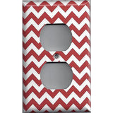 Wall Outlet Plate Cover in Crimson Red Burgundy Chevron Print