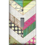 Single Toggle Light Switch Cover in Shabby Chic Farmhouse Chevron Stripes