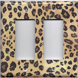 Double Rocker Decora Light Switch Cover in Leopard Spots Animal Print African Decor
