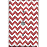 Cable Jack Cover in Crimson Red Burgundy Chevron Print