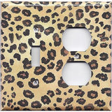 Combo Light Switch and Outlet Cover in Leopard Spots Animal Print African Decor