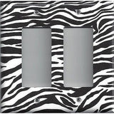 Double Rocker Decora Light Switch Cover in Zebra Stripes Black & White Animal Print