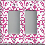 Double Rocker Decora Light Switch in Hot Pink Damask Filigree Scrolls Handmade- Simply Chic Gal