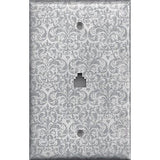 Phone Jack Cover in Silver Gray Grey Damask Print Handmade- Simply Chic Gal